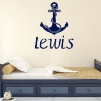 Personalised Children's Nautical Themed Anchor Name Wall Sticker Decal